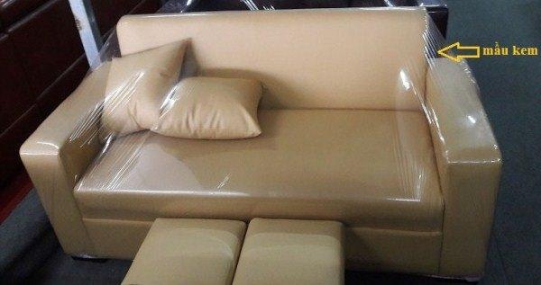Thanh lý Ghế sofa da đơn dài 1m8 màu kem giá rẻ